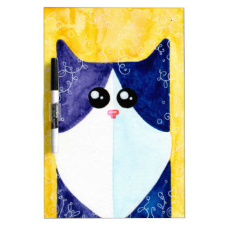 Black White Cat ALLCATSGOOD Dry Erase Board