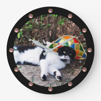 BLACK WHITE CAT AND HARLEQUIN HAT Masquerade Party Large Clock