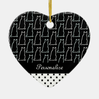 Black & White Cat and Star Pattern Ceramic Heart Ornament