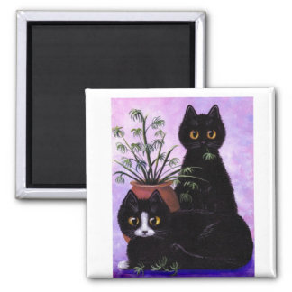 Black White Cat by Creationarts Lisa R Adams Square Magnet