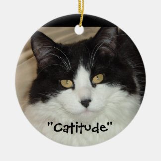 Black & white Cat Catitude! Ceramic Ornament