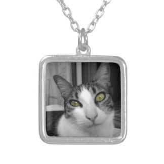 Black White Cat Photo Silver Plated Necklace