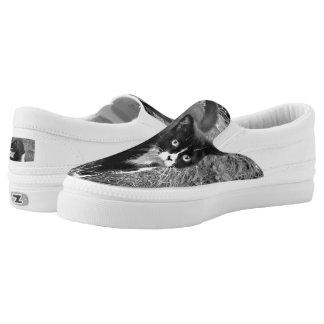 Black & White Cat - shoes