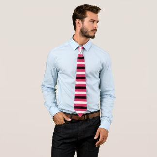 Black, White, Cerise Stripes Pattern Tie