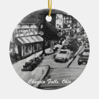 Black & White Chagrin Falls, Ohio Ornament
