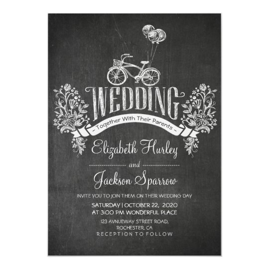 Black & White Chalkboard Floral Wedding Invitation