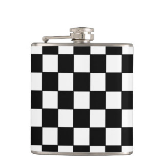 Black White Checked - Flask