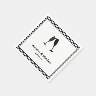 Black & White Checker Champagne Glass Party Napkin