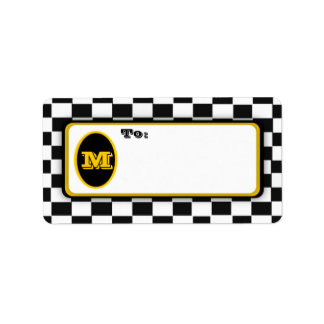 Black White Checkerboard Monogrammed Mail Labels
