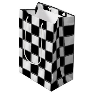 Black & White Checkerboard Pattern Medium Gift Bag