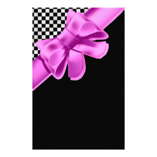 Black & White Checkerboard Pink Bow Set Stationery