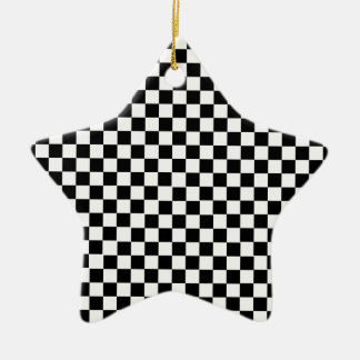 Black White Checkered Ceramic Ornament