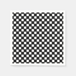 Black, white checkered coctail napkin