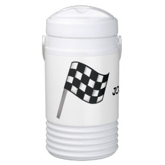 Black White Checkered Flag Race Name PersonalizedT Cooler