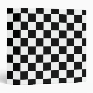 Black White Checkered Flags Pattern Binder