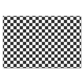 Black White Checkered Flags Pattern Tissue Paper