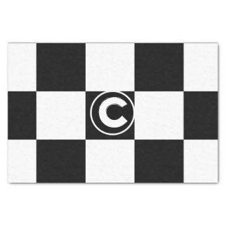 Black White Checkered Squares Monogram Initial Tissue Paper