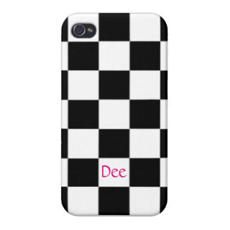 Black White Checkers With Your Name iPhone 4/4S Cover
