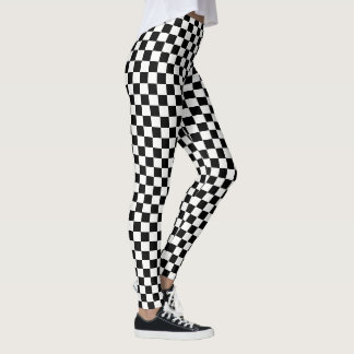 Black White Checks Checkered Racing Flag Pattern Leggings