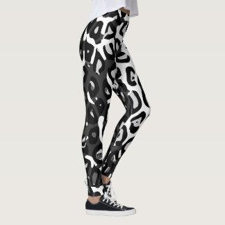 Black White Cheetah Print Womens Leggings