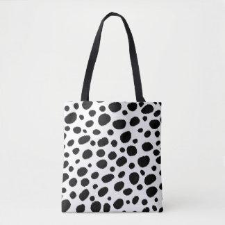 Black & White Cheetah Spots Pattern Tote Bag