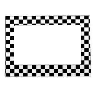 Black & White Chequerboard Background Magnetic Frame