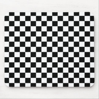 Black & White Chequerboard Background Mouse Pad
