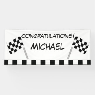 Black White Chequered Flag Race Congratulations Banner