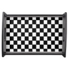 Black White Chequered - Serving Tray