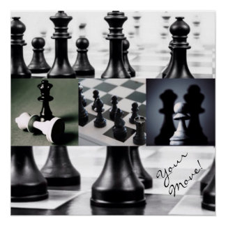 Black & White Chess Game Collage Poster