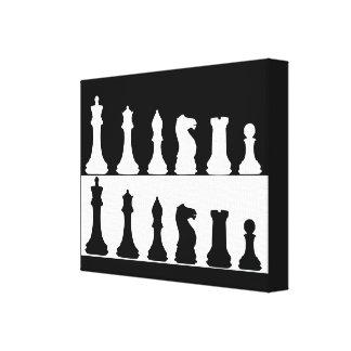 Black White Chess Set Wall Canvas