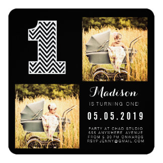 "Black & White Chevron 1st Birthday Photo Cards 5.25"" Square Invitation Card"