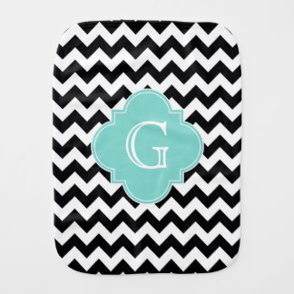 Black White Chevron Aqua Quatrefoil Monogram Burp Cloth
