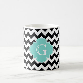 Black White Chevron Aqua Quatrefoil Monogram Coffee Mug