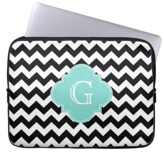 Black White Chevron Aqua Quatrefoil Monogram Laptop Sleeve