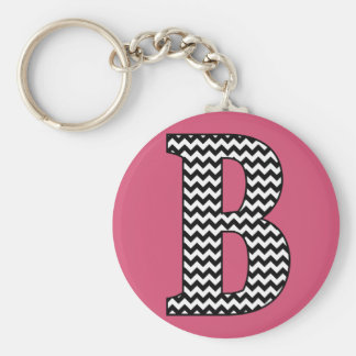"Black & White Chevron ""B"" Monogram Basic Keychain"