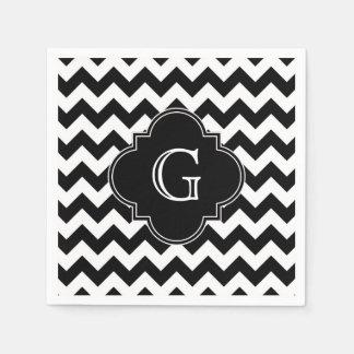 Black White Chevron Black Quatrefoil Monogram Napkin