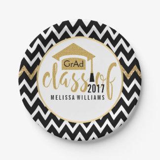 Black & White Chevron Class Of 2017 Gold Glitter 7 Inch Paper Plate