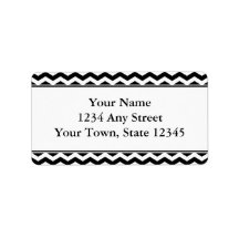 Black & White Chevron Envelope Address Labels Custom Address Label