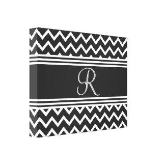 Black | White Chevron Gothic Zigzag Monogram Canvas Print