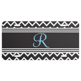 Black | White Chevron Gothic Zigzag Monogram License Plate