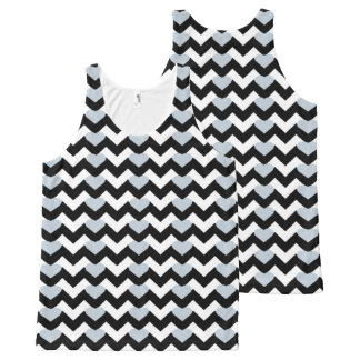 BLACK/WHITE CHEVRON GREY HEART TANK TOP