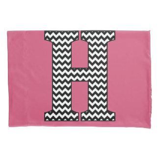 Black & White Chevron H Monogram Pillowcase