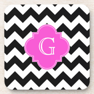 Black White Chevron Hot Pink Quatrefoil Monogram Coaster