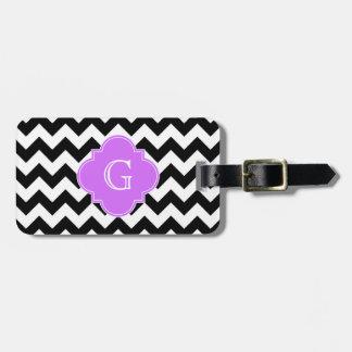 Black White Chevron Lilac Quatrefoil Monogram Tag For Bags