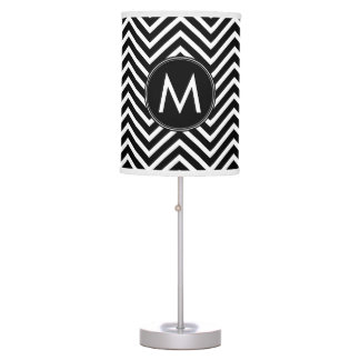 Black White Chevron Pattern Custom Monogram Desk Lamp
