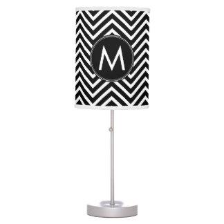 Black White Chevron Pattern Custom Monogram Table Lamp