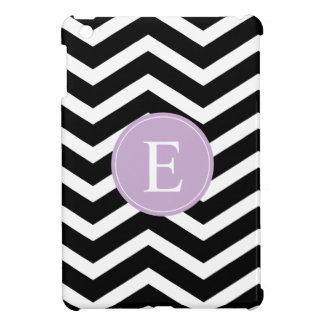 Black White Chevron Purple Monogram iPad Mini Case