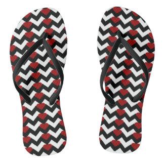 BLACK/WHITE CHEVRON RED HEART FLIP-FLOPS FLIP FLOPS