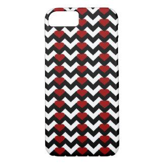BLACK/WHITE CHEVRON RED HEART iPHONE 7/8 CASE